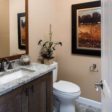 Traditional Powder Room by Kate Benjamin Photography LLC