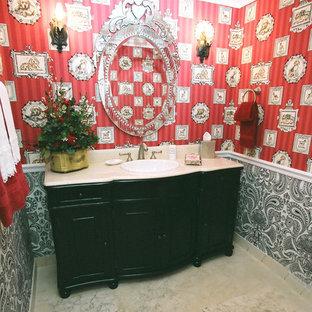 На фото: с высоким бюджетом туалеты среднего размера в стиле фьюжн с фасадами с выступающей филенкой, черными фасадами, красными стенами, накладной раковиной и белым полом