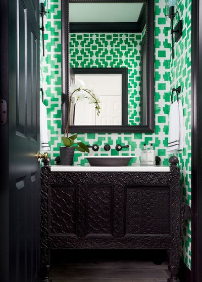 Transitional Powder Room by GreyHunt Interiors