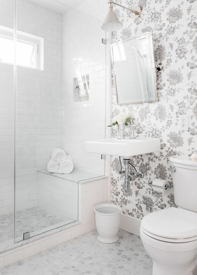 Transitional Powder Room by Stephanie Russo Photography