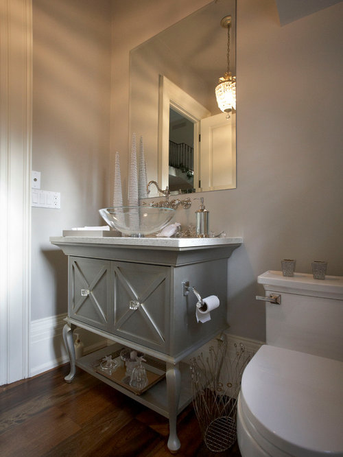 Traditional powder room design ideas remodels photos for Small vanity for powder room