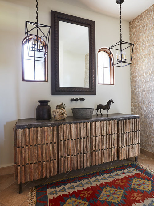 Inspiration For A Mediterranean Beige Floor Powder Room Remodel In Phoenix  With Furniture Like Cabinets