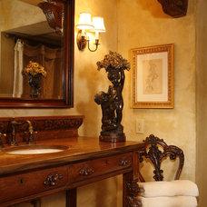 Mediterranean Powder Room by Bruce Kading Interior Design