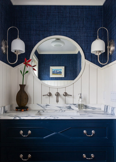 Beach Style Powder Room by Shelter Interiors LLC