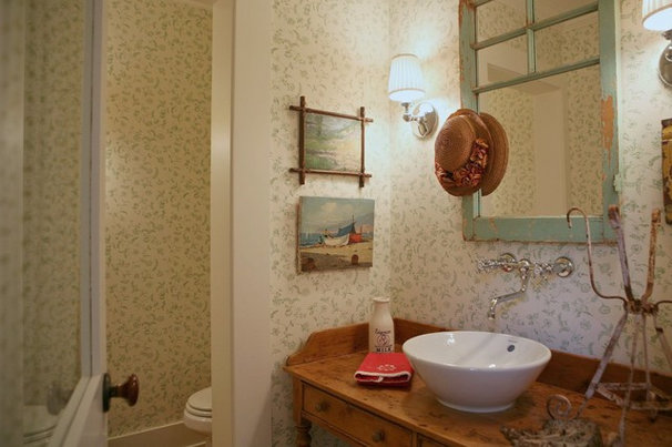 Farmhouse Powder Room by Alison Kandler Interior Design
