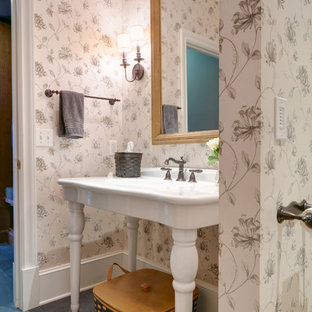Design ideas for a large country cloakroom in Other with a two-piece toilet, multi-coloured walls, slate flooring, a vessel sink and grey tiles.