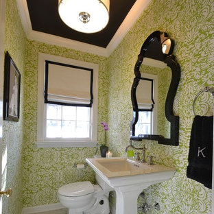 This is an example of a contemporary powder room in Philadelphia with a pedestal sink.