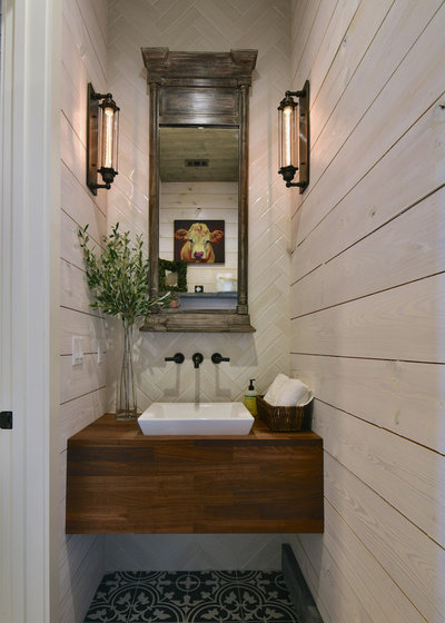 Farmhouse Powder Room by Stacy Alexander Design + Real Estate