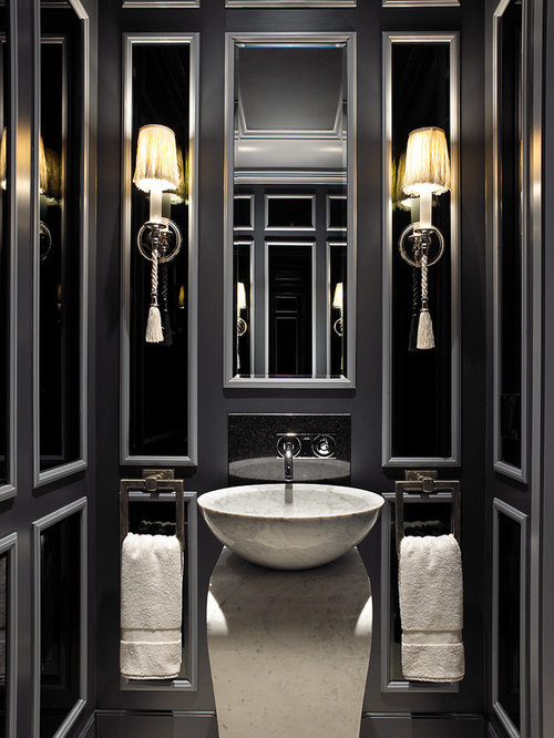 Black Powder Room Houzz