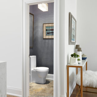 Small modern cloakroom in Toronto with a one-piece toilet, blue walls, slate flooring and a wall-mounted sink.