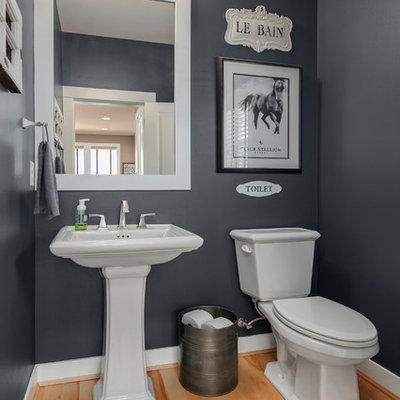 Inspiration for a mid-sized transitional light wood floor and brown floor powder room remodel in Seattle with a two-piece toilet, gray walls, a pedestal sink and solid surface countertops