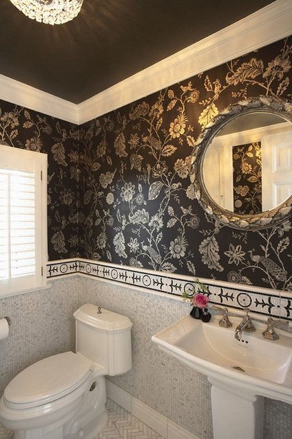 Contemporary Powder Room by Erotas Building Corporation