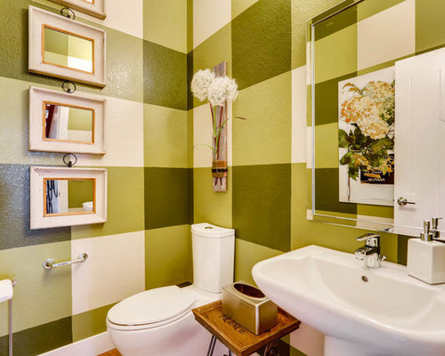 Example Of A Classic Powder Room Design In Denver With A Two Piece Toilet,