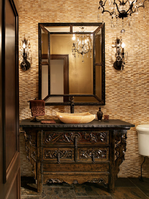 Powder Room   Traditional Powder Room Idea In New York With A Vessel Sink