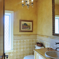 Mediterranean Powder Room by Laurie Plattes