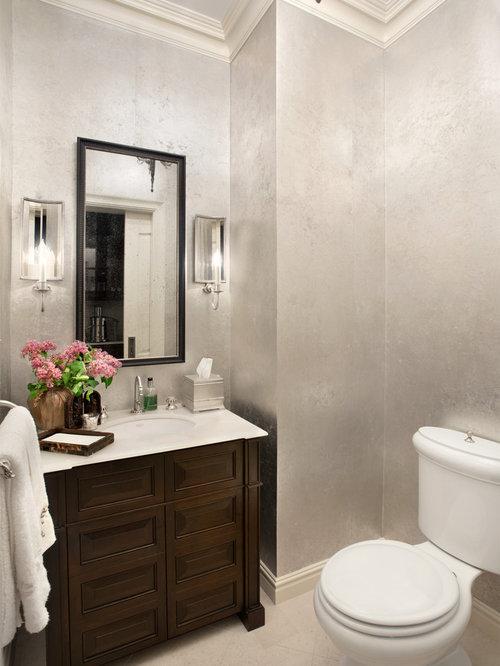 Foto e idee per bagni di servizio bagno di servizio con ante marroni - Bagno piastrelle marroni ...
