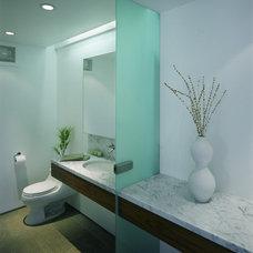 Modern Powder Room by OJMR-Architects, Inc.