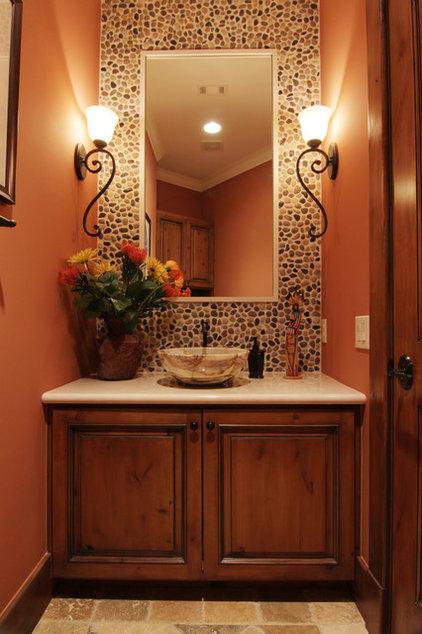 Mediterranean Powder Room by Brickmoon Design