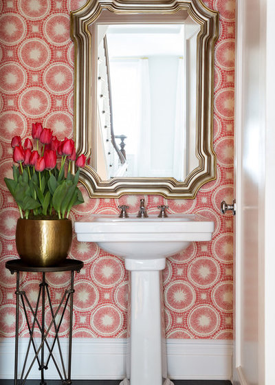 Transitional Powder Room by Fox Force Five Construction