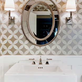 Example Of A Clic Powder Room Design In Chicago With Pedestal Sink