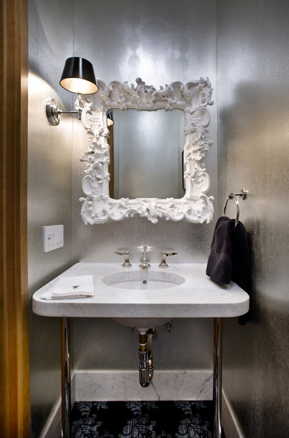 Contemporary Powder Room by lisa rubenstein - real rooms design