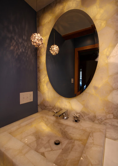 Traditional Powder Room by Mosby Building Arts