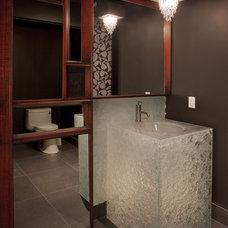 Contemporary Powder Room by Glassworks, Inc.
