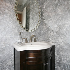 Contemporary Powder Room by Jeannette Wisby, principal at DESIGN SAVVY
