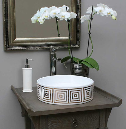 Contemporary Powder Room by Decorated Porcelain Company