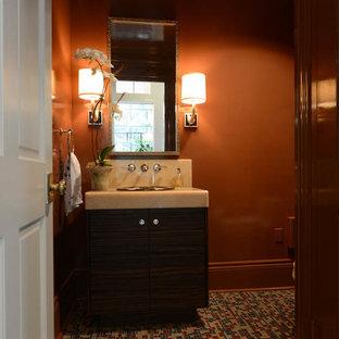 Свежая идея для дизайна: туалет среднего размера в современном стиле с темными деревянными фасадами, полом из мозаичной плитки, накладной раковиной, плоскими фасадами, разноцветной плиткой, оранжевыми стенами и столешницей из оникса - отличное фото интерьера