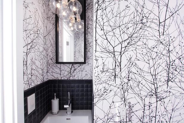 Midcentury Powder Room by Regan Baker Design Inc.