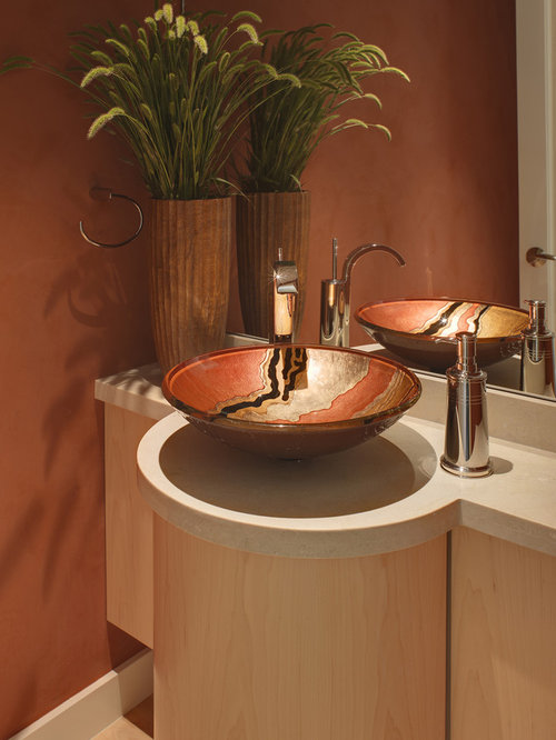 Vessel sink home design ideas pictures remodel and decor for Bathroom powder room designs