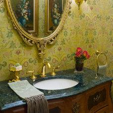Traditional Powder Room by Robin Baron Design