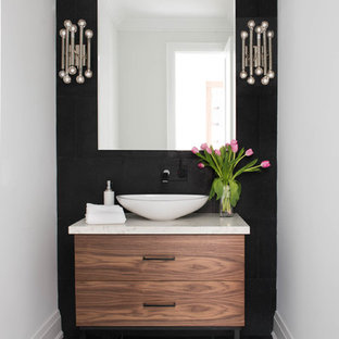 Example Of A Trendy Powder Room Design In Toronto With Flat Panel Cabinets Medium Save Photo