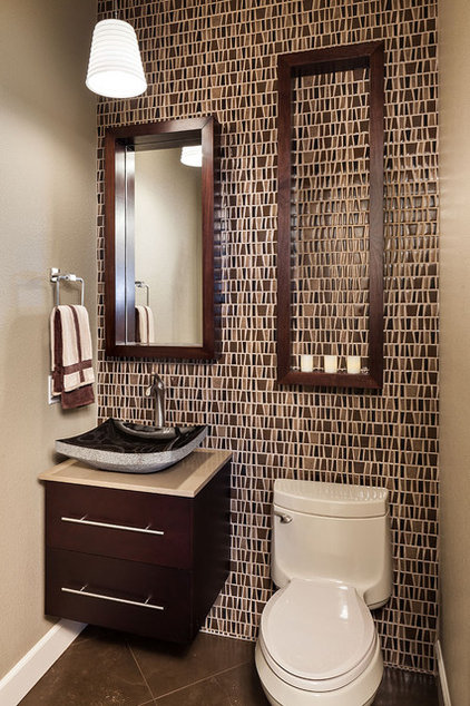 Traditional Powder Room by KuDa Photography