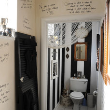 Eclectic Powder Room Guest Bathroom Stripes