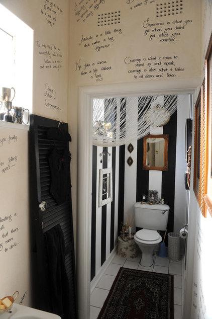 Eclectic Powder Room Guest Bathroom Stripes