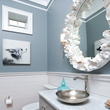 transitional powder room by Russell Home Builders