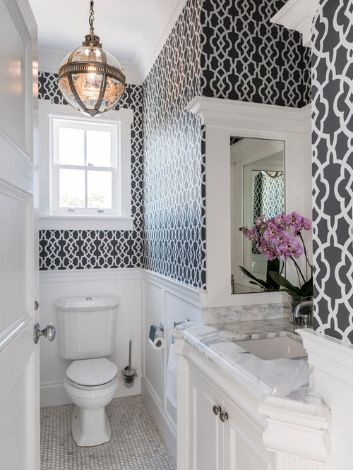 elegant mosaic tile floor and gray floor powder room photo in brisbane with recessed panel - Wainscoting Design Ideas