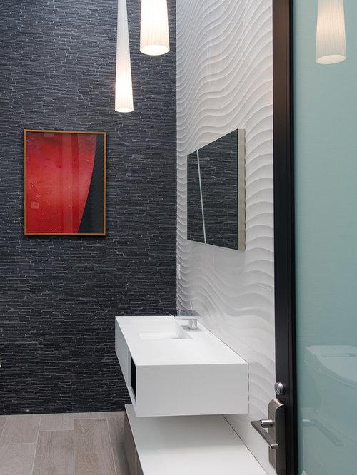 Foto e idee per bagni di servizio bagno di servizio con for Piastrelle bagno bianche e nere