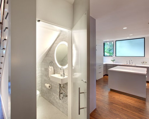 Powder Room   Modern Subway Tile Powder Room Idea In Austin With A  Wall Mount