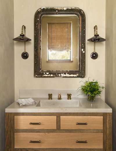 Great Farmhouse Powder Room by Jute Interior Design