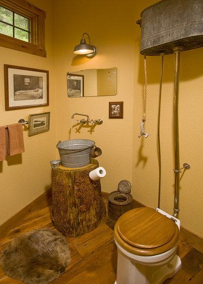 Rustic Powder Room by MQ Architecture & Design, LLC