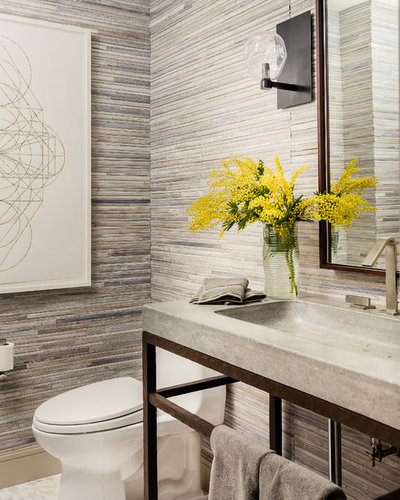 Transitional Powder Room by Elms Interior Design