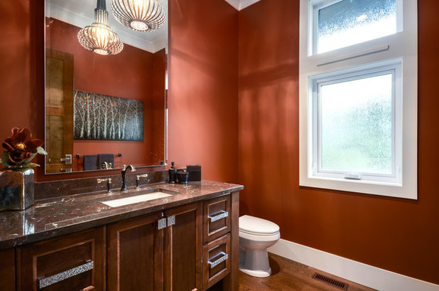 Transitional Powder Room by Currant Interior Design