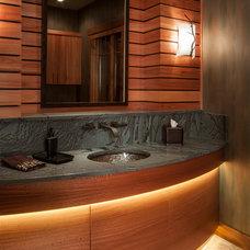 Contemporary Powder Room by Homeland Design, llc
