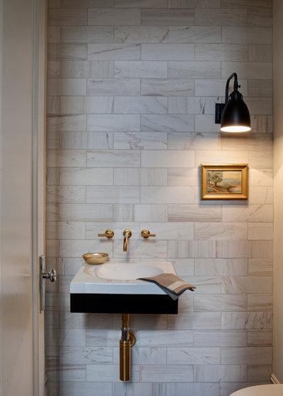 Transitional Powder Room by Buckingham Interiors + Design LTD