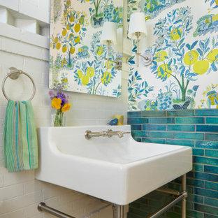 На фото: туалет в стиле современная классика с синей плиткой, разноцветными стенами, полом из мозаичной плитки, консольной раковиной, желтым полом и обоями на стенах с