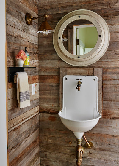 Farmhouse Powder Room by Ashley Gilbreath Interior Design