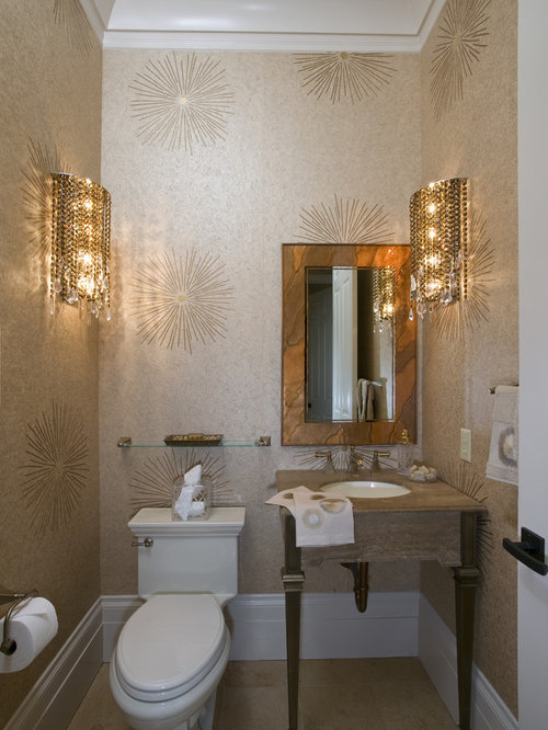Wallpaper powder room ideas pictures remodel and decor for Wallpaper for small powder room
